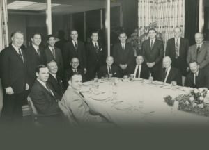 Board of Directors, A.G.Becker & Co., Inc.  1968-69.  Sitting, left to right: Roger Brown, Jim Lewis, Dave Dattelbaum, Harry Weber, James Becker, Irv Sherman, Bill Mabie, Ken Nelson; stanfing left to right: Mac Skall, Steve Weiss, Dave Heller, Bill Cockrum, Burt Weiss, Jack Connor, Al Kopin, John Mabie, and Paul Judy.