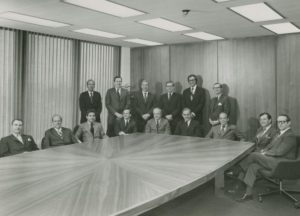 Board of Directors, A.G.Becker & Co., Inc. 1970.  Sitting, left to right: Ray Ryan, John Mabie, Fred Moss, Roger Brown, Paul Judy, Jack Connor, Dave Peterson, Burt Weiss, Bob Vance; Standing, left to right: Bill Cockrum, Jack Donahue, Mac Skall, Jack Wing, John Levy, and Ray Holland.