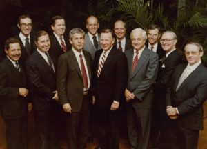 Board of Directors, A.G.Becker & Co., Inc.  1973.  Front standing, left to right: Stu Gassel, Dan Good, Fred Moss, Ken Nelson, Paul Judy, Ray Holland, Bob Vance; rear standing, left to right: John Levy, Jack Donahue, John Mabie, Bill Cockrum, and Burt Weiss.