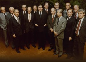 AGB-WPB Board of Directors, 1980.  Standing in front, left to right: Geoffrey Seligman, Jack Hyland, David Scholey, Ira Wender, Pierre Haas, Dan Good, Fred Moss; standing in rear, left to right: Rudy Peterson, Paul Judy, Ronnie Grierson, Francois Morin, Jack Donahue, Michel Francois-Poncet, John Mabie, and Bill Cockrum.